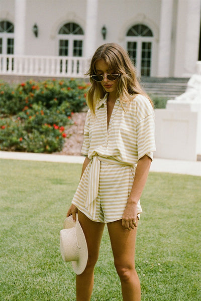 Comfy Stripe Playsuit - Yellow