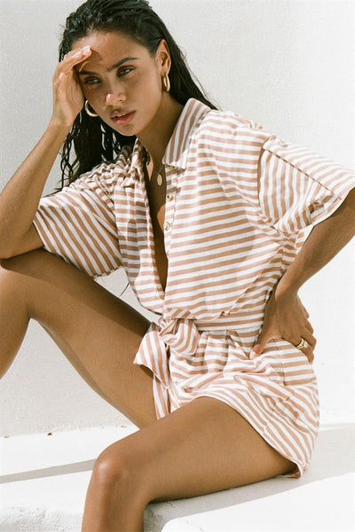 Comfy Stripe Playsuit - Tan