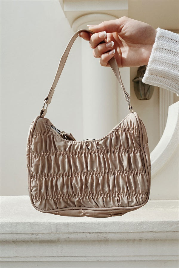 Oro Ruched Baguette Bag
