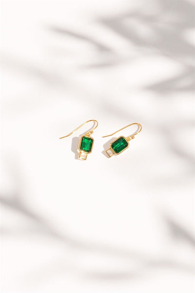 18K Emerald Earrings
