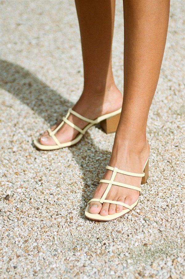 Jaune Strappy Sandals - Yellow