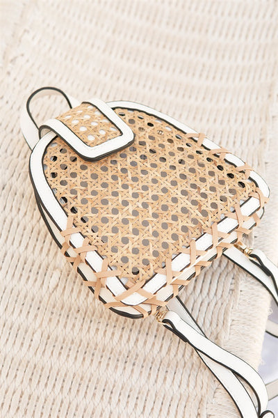 Rattan Backpack - White