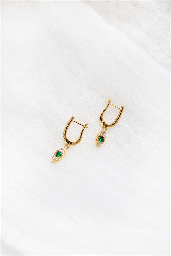 18K Emerald Drop Earrings