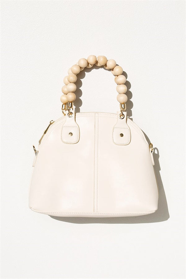 Bead Handle Tote - Cream