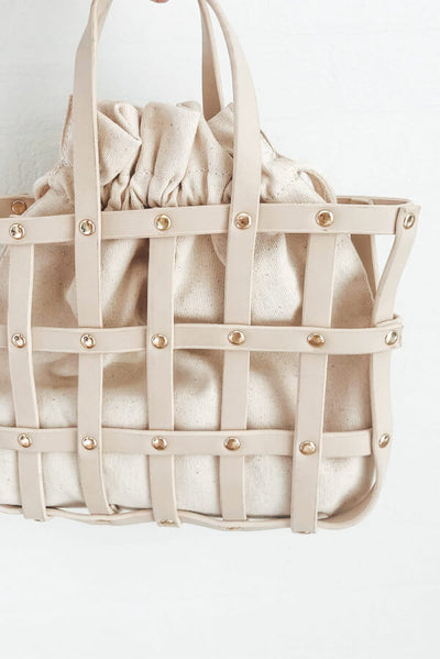 Cream Lattice Tote