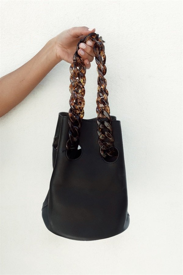 Tortoise Chain Bag - Black