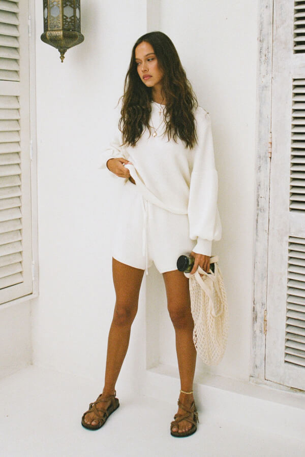 Cream Knit Shorts