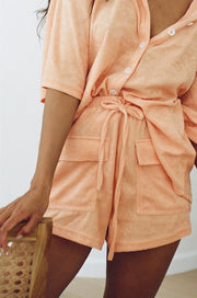 SAMPLE-Frankie Towelling Shorts - Apricot