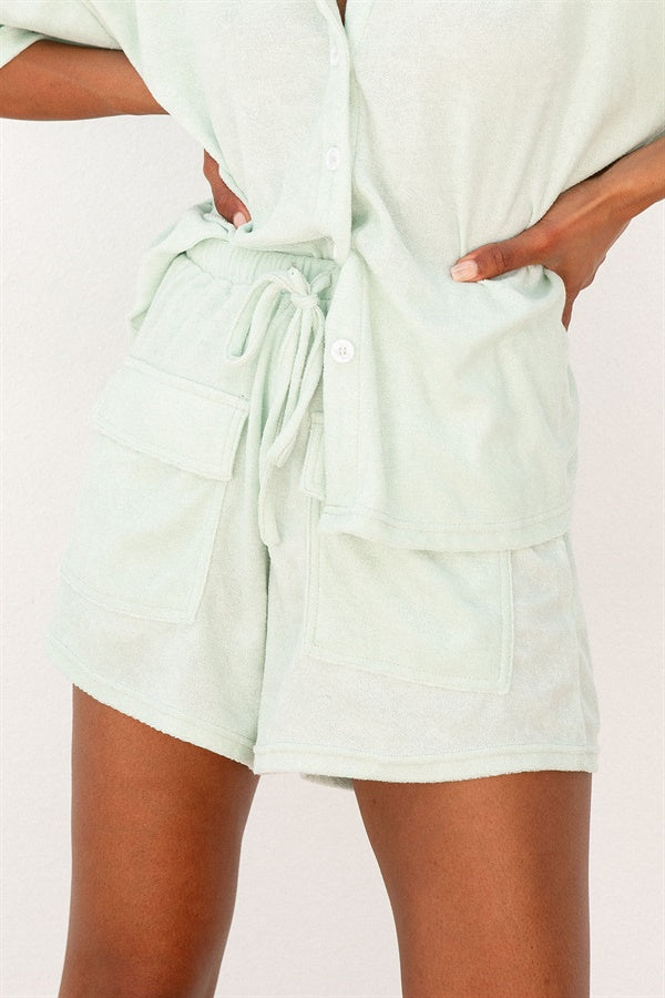Frankie Towelling Shorts - Mist