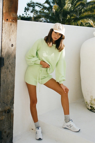 Lime Knit Shorts