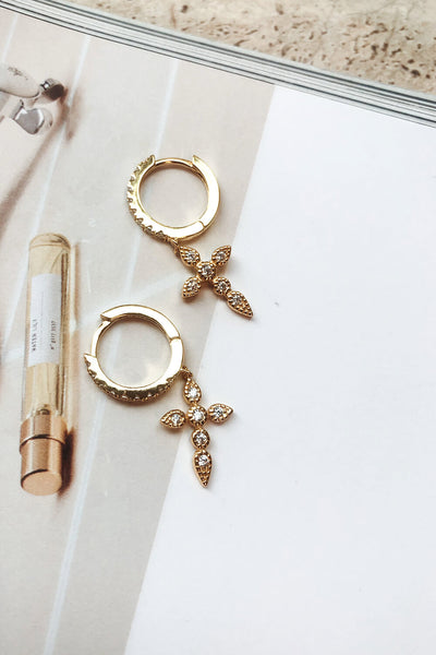18K Cross Hoops