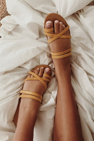 SAMPLE-Strappy Mustard Flats