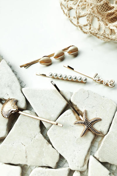 Mismatched Shell Hair Pins