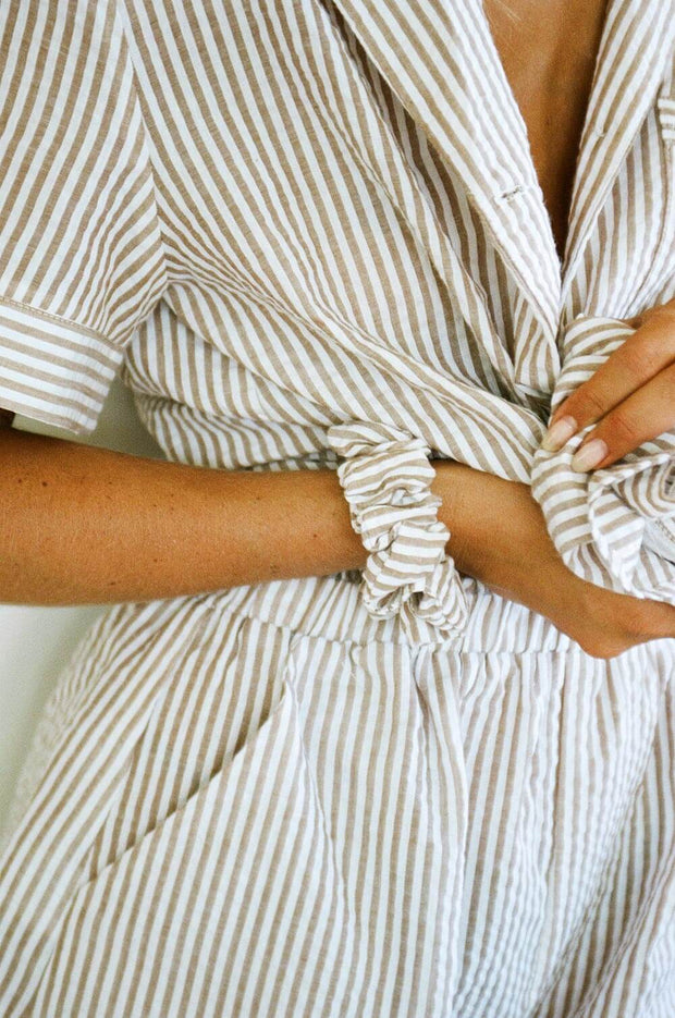 Stripe Scrunchie - Tan
