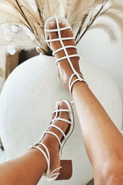 Ladder Block Heels - Ivory