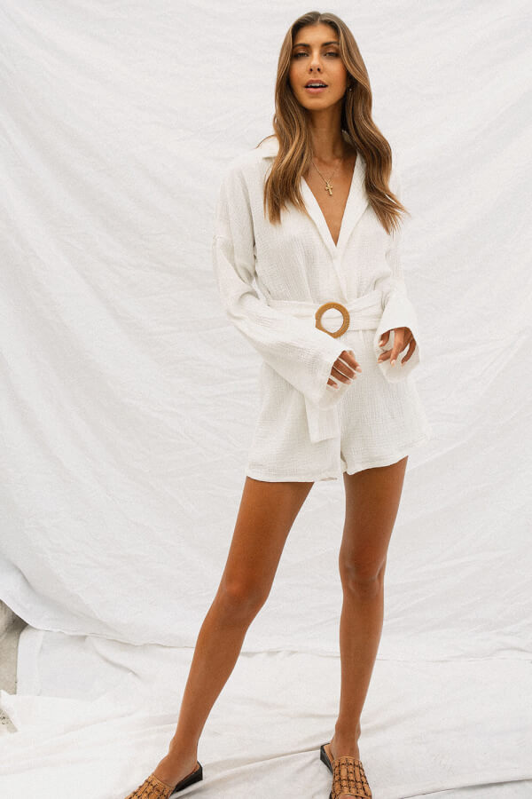 Plunging Lapel Playsuit