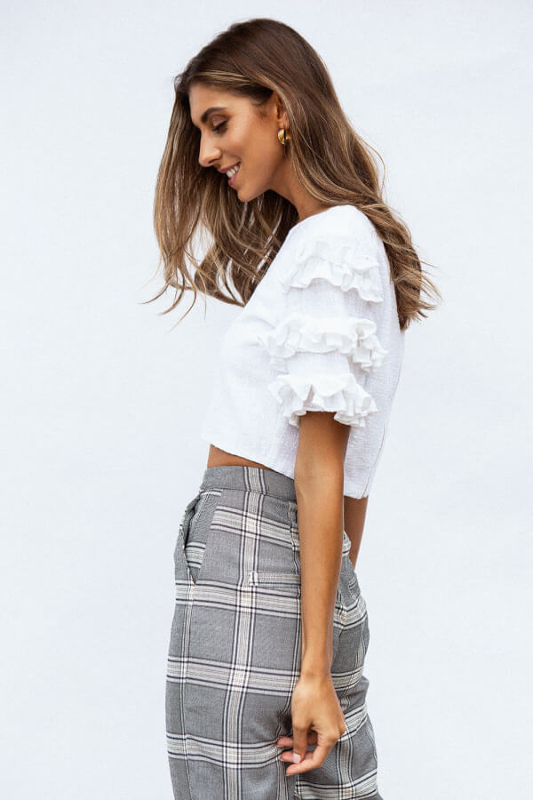 Raw Ruffle Top