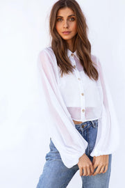 Sheer Elka Top - White