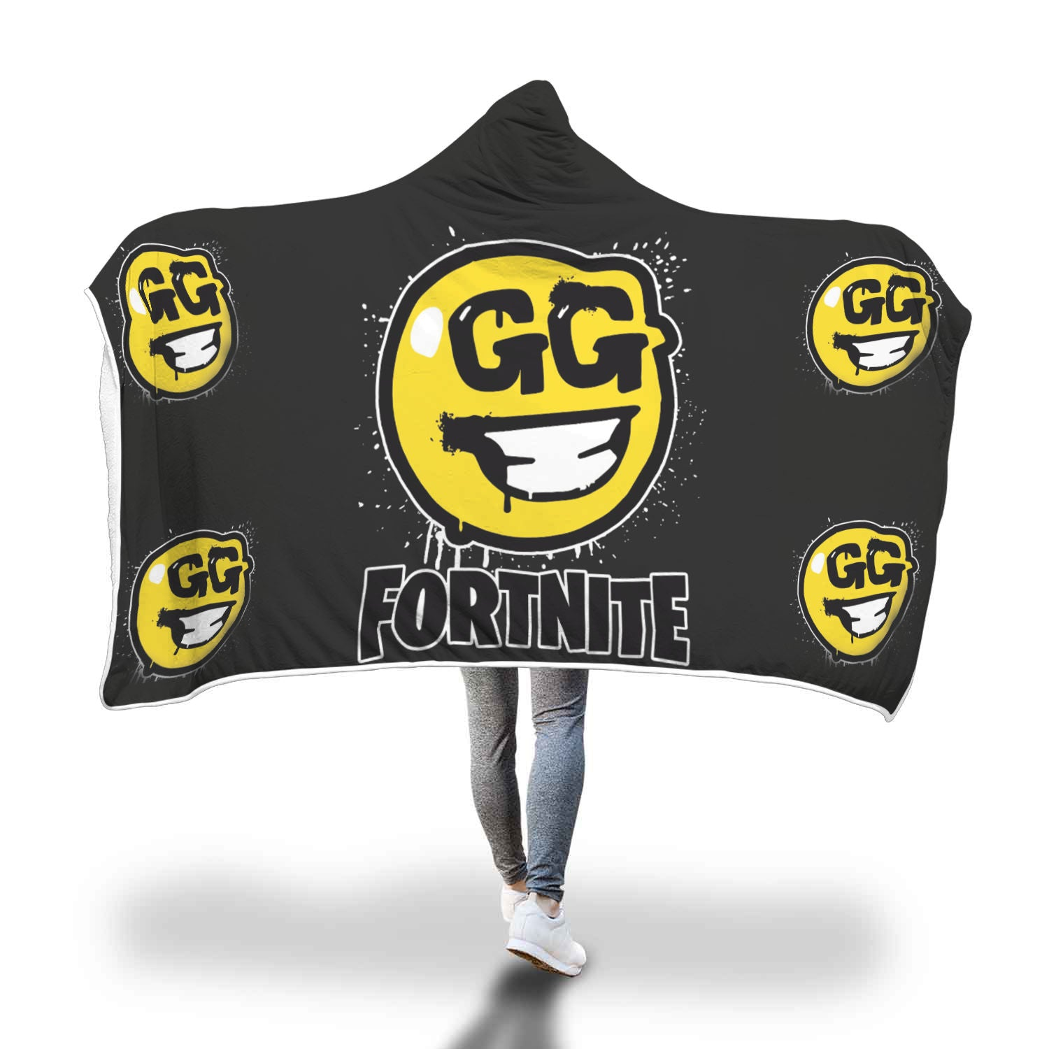 Fortnite Hoodie Hooded Blanket GG Face
