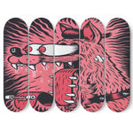 Skateboard Wall Art Decor Pink Dog Set Of 5