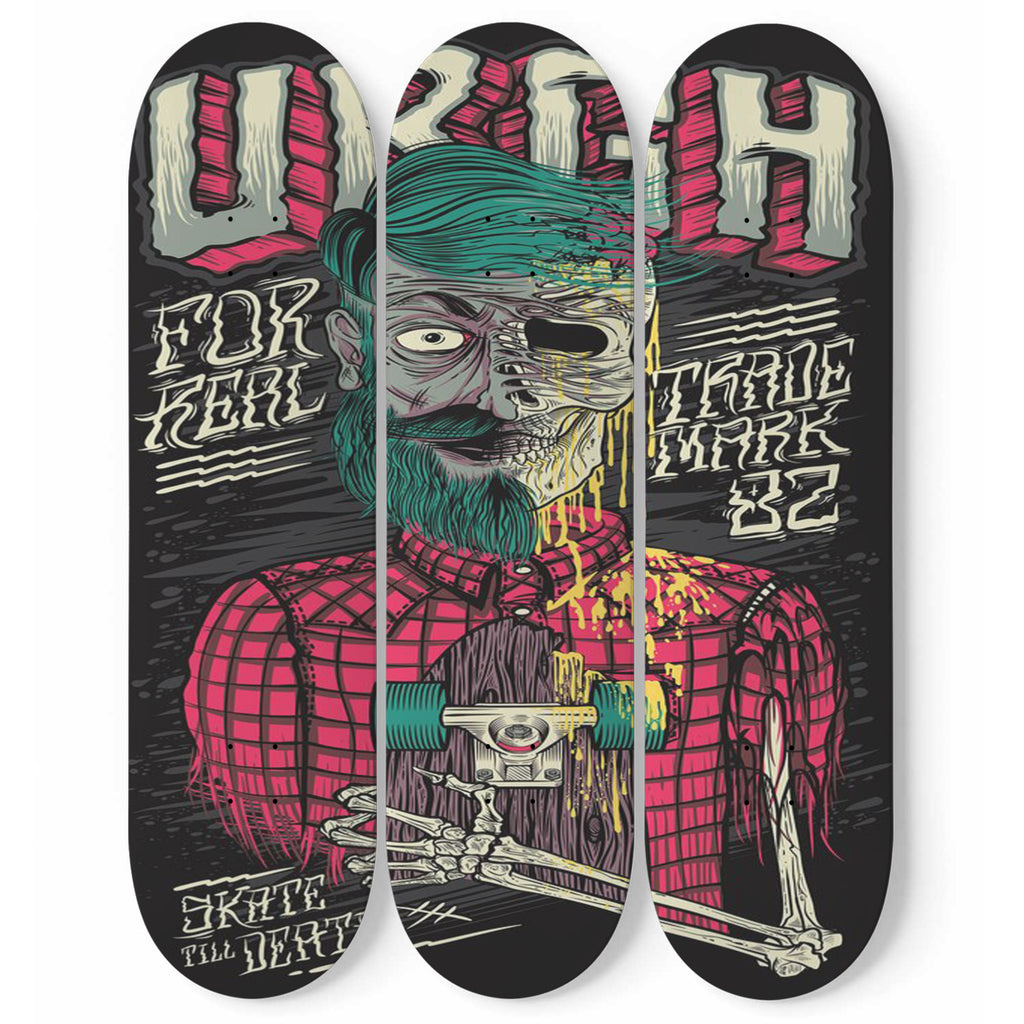 Skateboard URGH Wall Art Decor Skate Till Death Set Of 3