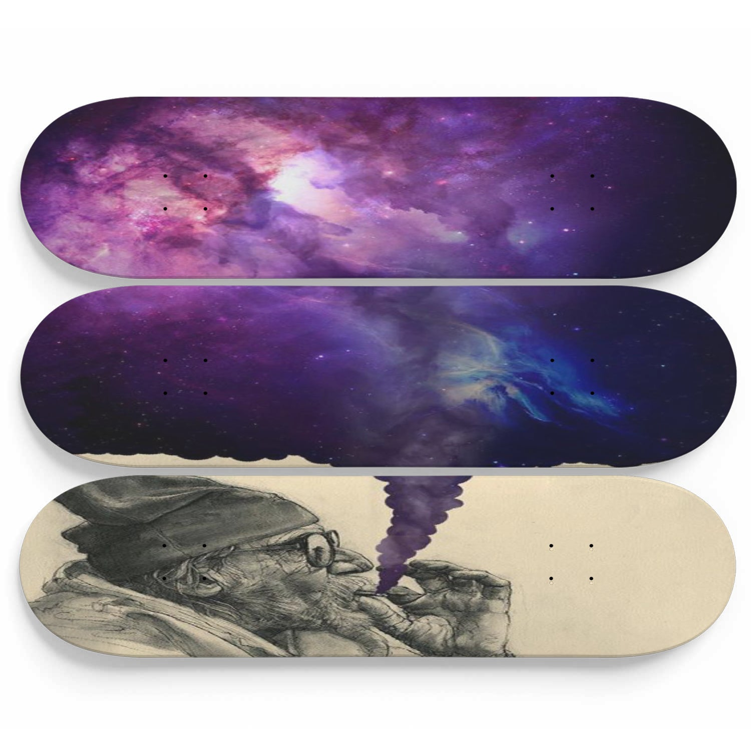 Skateboard Wall Art Weed Smoker Decor Set Of 3