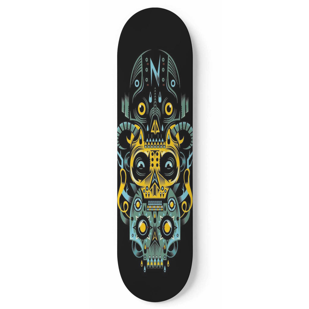 Three Skulls Skateboard Wall Art