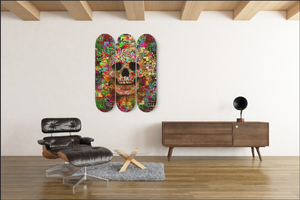 Color Skull Skateboard Wall Art