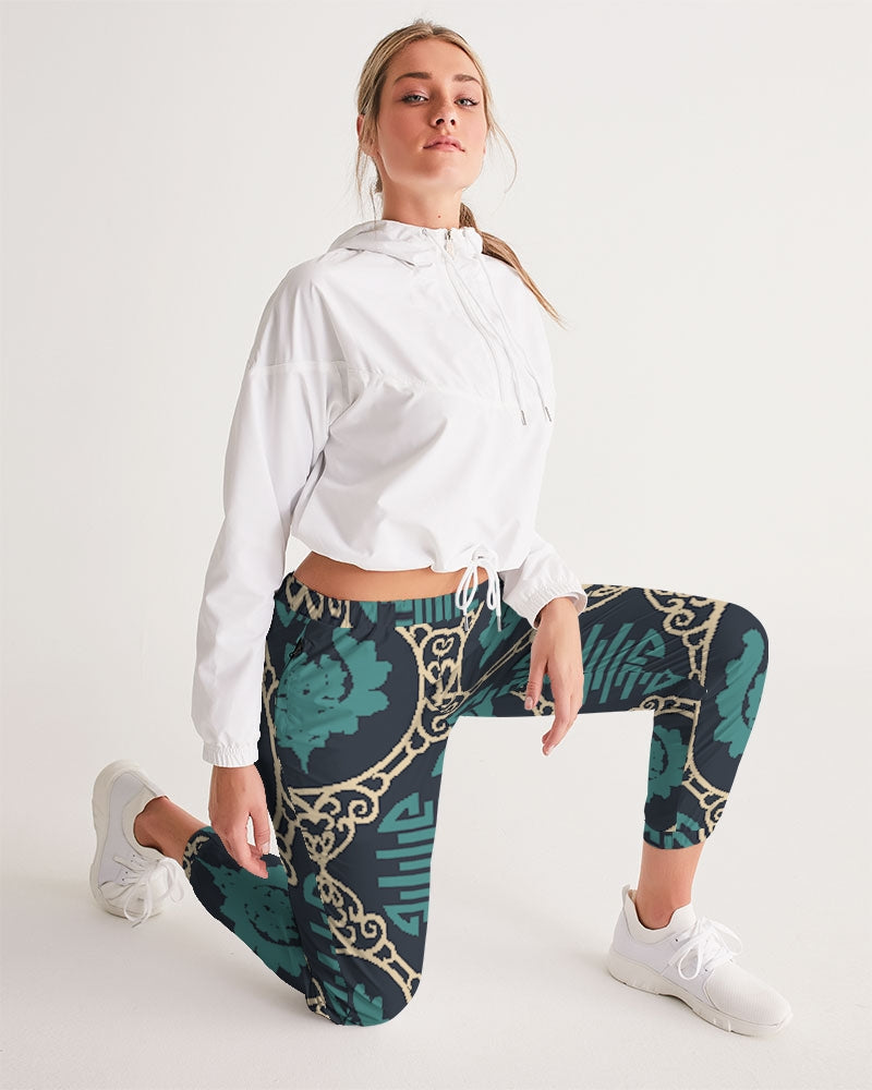 Chinese Print Green Women's Track Pants