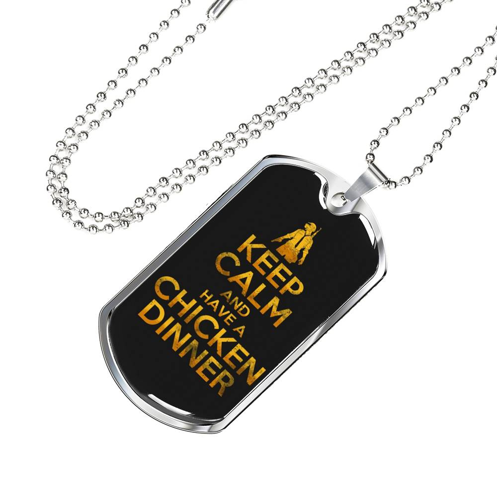 Gamer Necklace Chicken Dinner Dog Tag