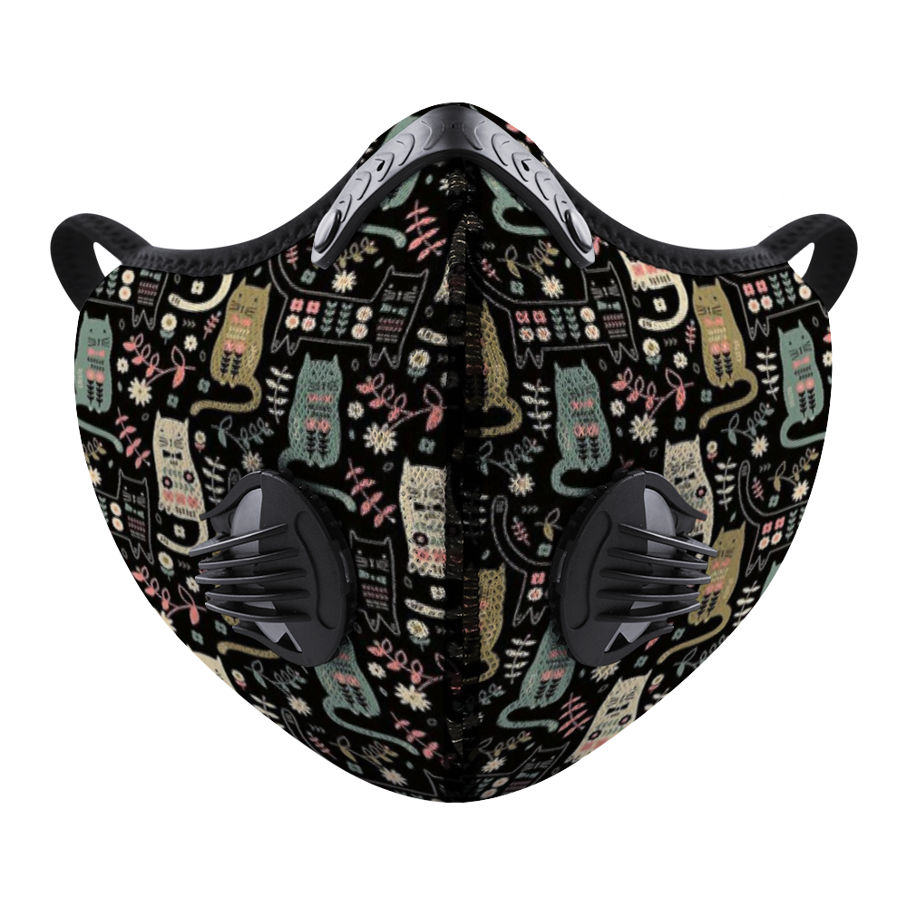 Flower Cat Face Mouth Mask Outdoor Protective Mask