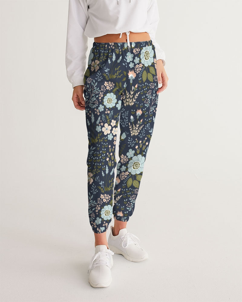Flower pattern green blue Women's Track Pants