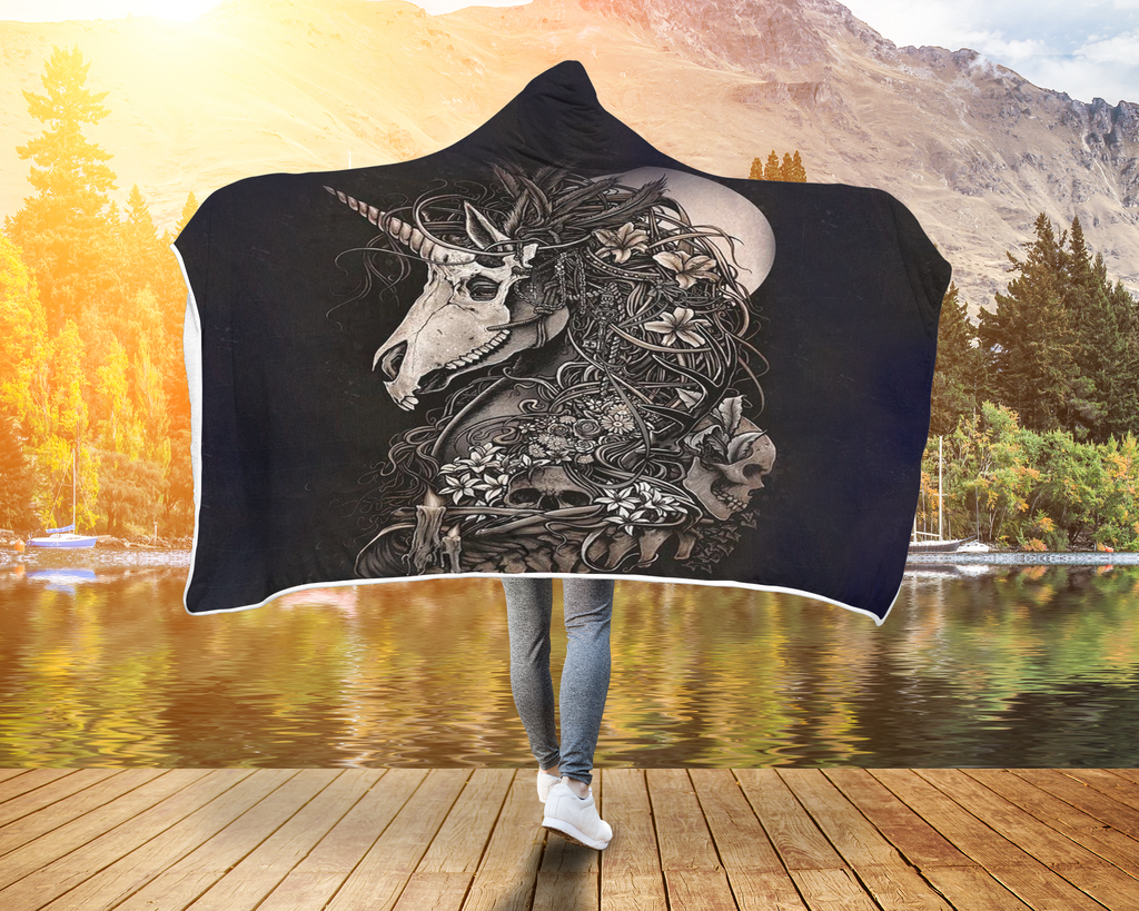 Unicorn skull Basseterre Horse Hooded Blanket