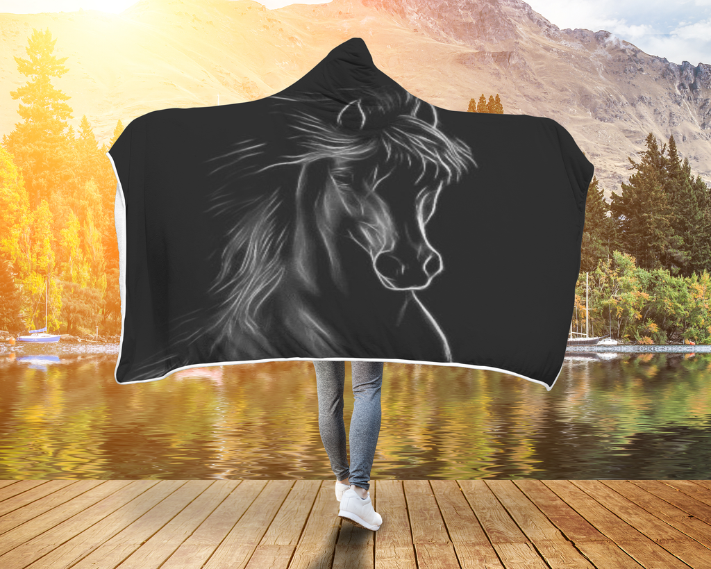 Black Beauty Horse Hooded Blanket