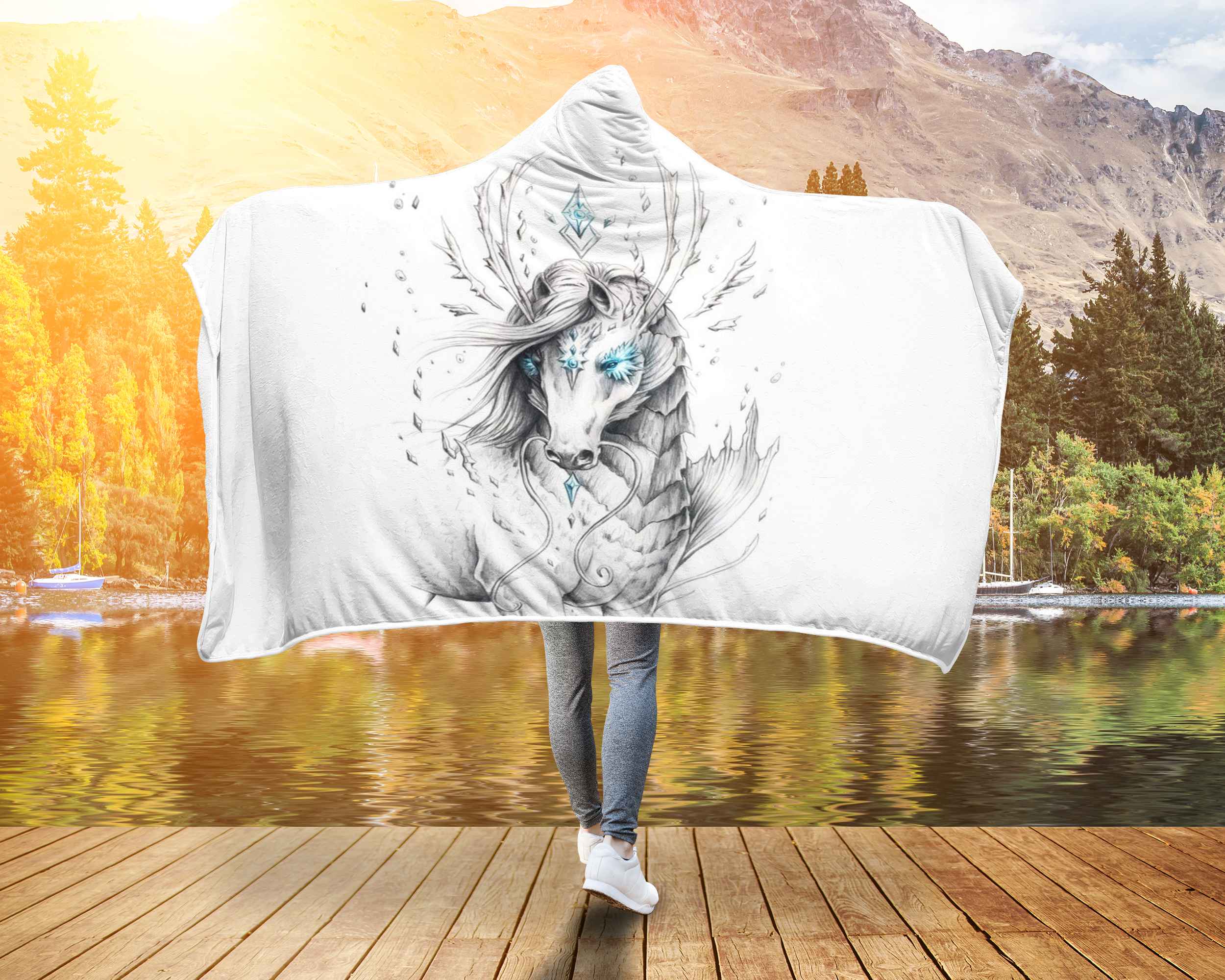 White Wonder Horse Hooded Blanket