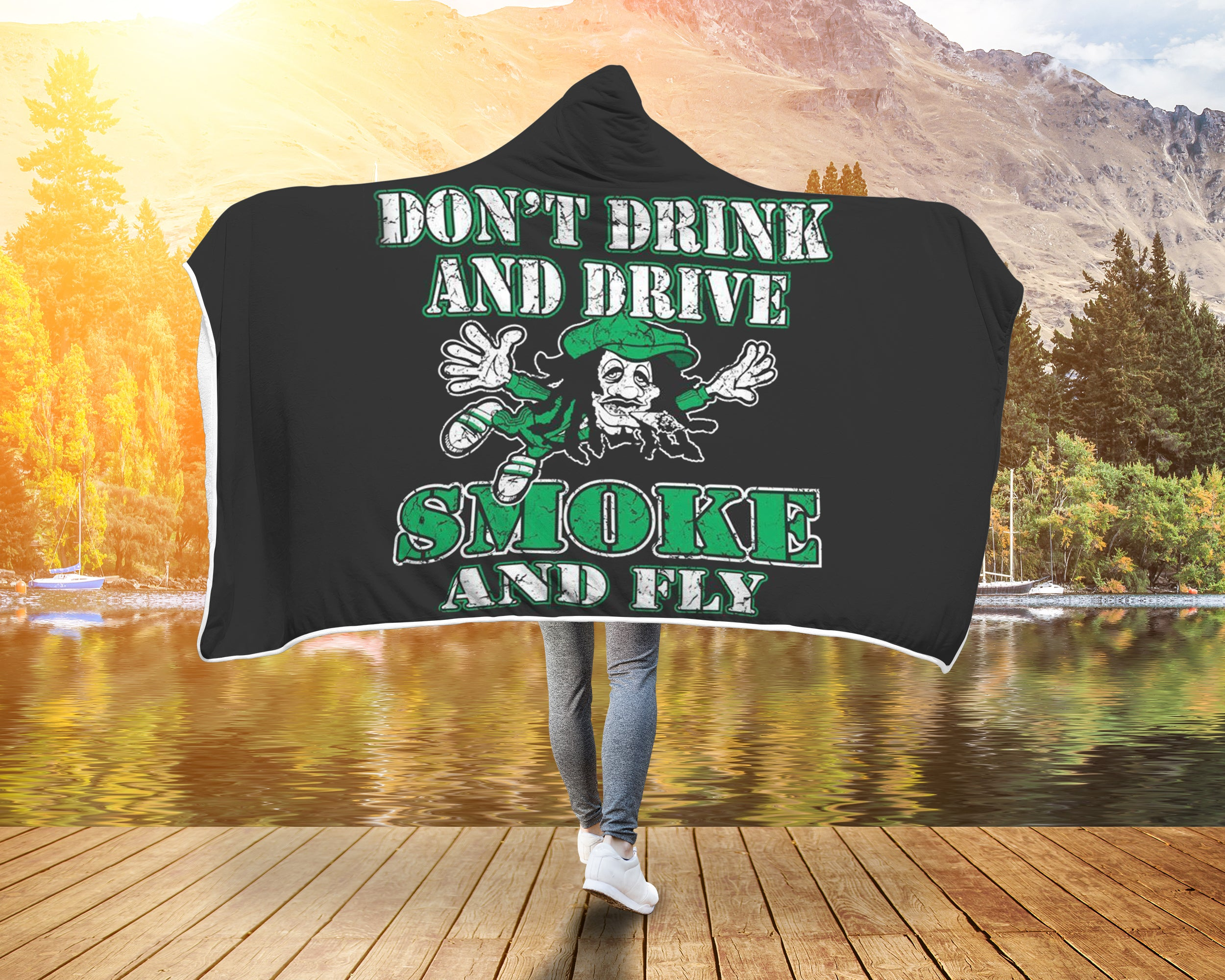 Weed Hoodie Hooded Blanket Marijuana Smoke And Fly
