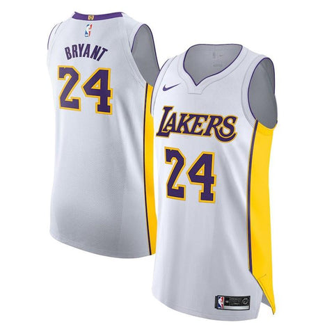 Image of 2018-2019 Men's Los Angeles Lakers Kobe Bryant Nike White Authentic Jersey - Association Edition