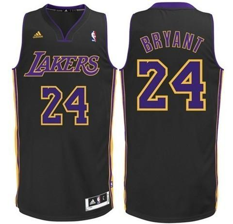 MENS ADIDAS LOS ANGELES LAKERS 24 KOBE BRYANT SWINGMAN BLACK(PURPLE NO.) NBA JERSEY