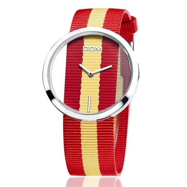 Montre fashion moderne mixte minimaliste nylon rouge et jaune
