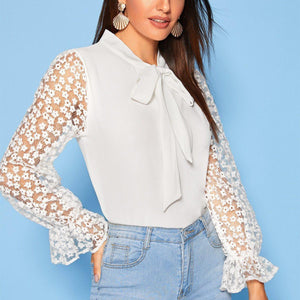 Tie Lace Cuff Blouse! - Fashionsarah