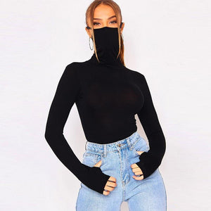 Black Mask Bodysuit - Fashionsarah.com