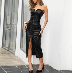 Strapless leather dress! Plus Sizes - Fashionsarah