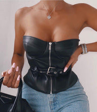 Load image into Gallery viewer, Strapless Leather Top - Fashionsarah.com