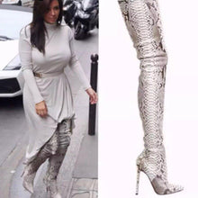 Load image into Gallery viewer, Snakeskin Over the Knee Boots - Fashionsarah