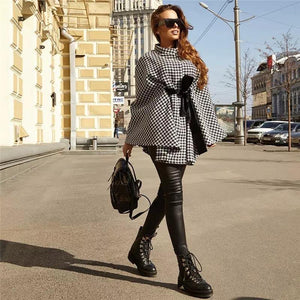Houndstooth Cape Coat