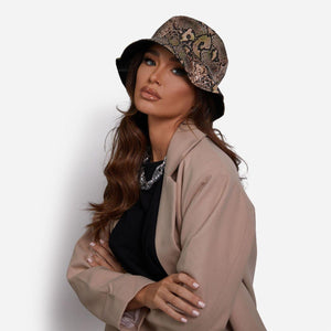 Bucket Hat In Nude Snake - Fashionsarah.com
