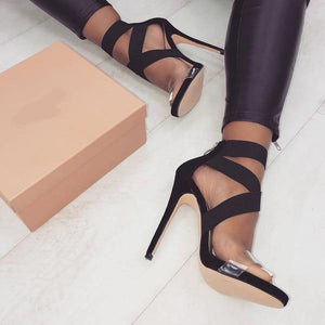 Stretch Ankle-Wrap Heels.We Love! - Fashionsarah