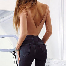 Load image into Gallery viewer, Sexy Backless Nude Bodysuit. What's not to love? - Fashionsarah