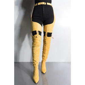 Suede Waist Thigh Belted Boots - Fashionsarah