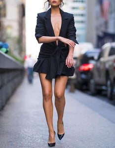 Blazer Deep V Neck Suit Dress.Just in! - Fashionsarah